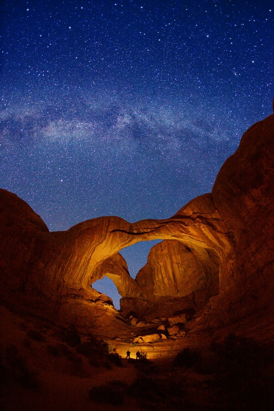 Double Arch and Milky Way stars at Arches National Park, Utah, USA