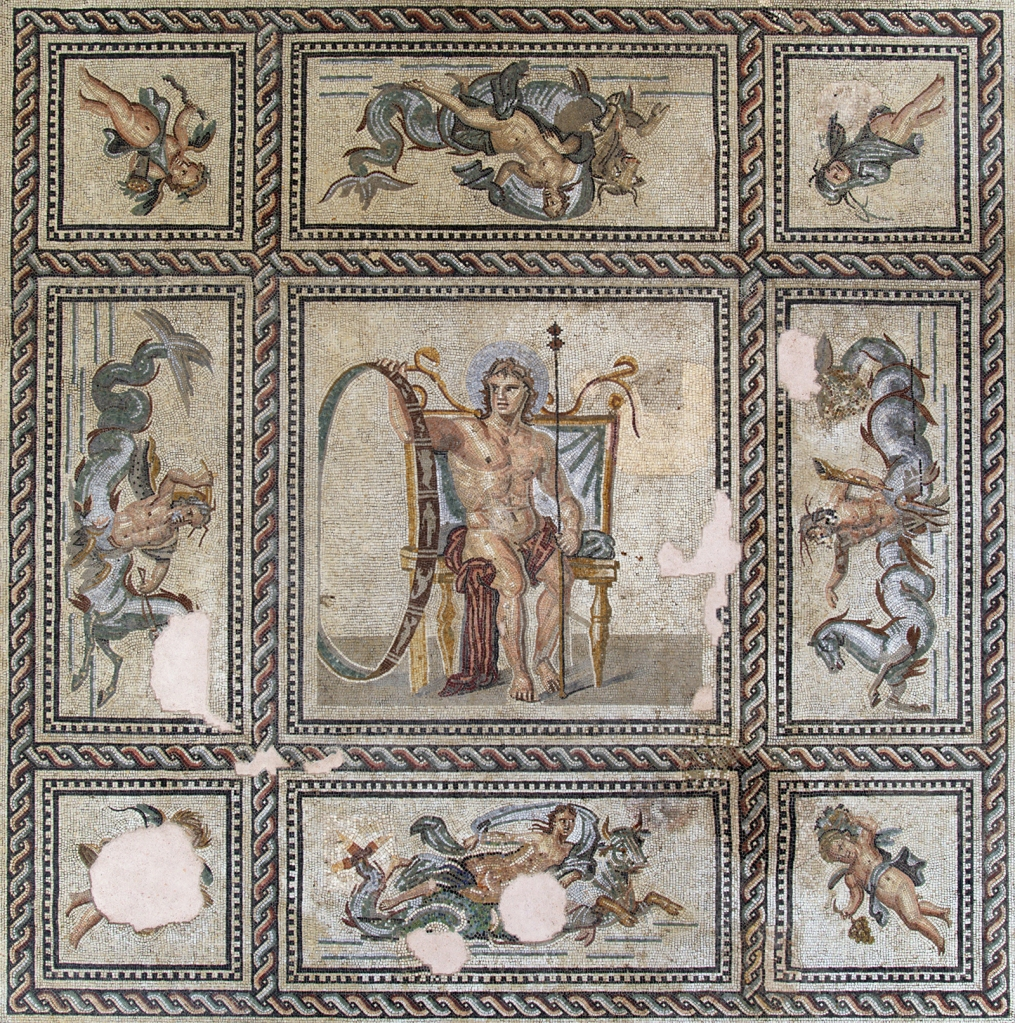 This image has an empty alt attribute; its file name is mosaic_pavement_of_aion_from_the_house_of_aion_in_arles_france_roman_2nd_century_ce.jpg